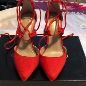 Coral bright brand new never worn strappy heels!